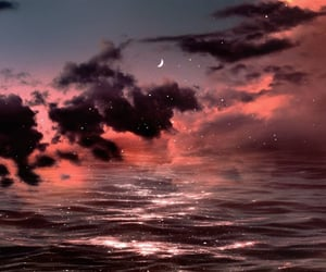 moon, ocean, and clouds image