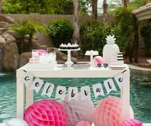 cake, decorations, and pool party image