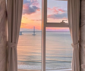 view, sunset, and sea image