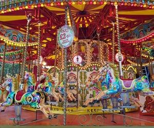 amusement park, carousel, and childhood image