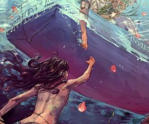 love, drawing, and mermaid image
