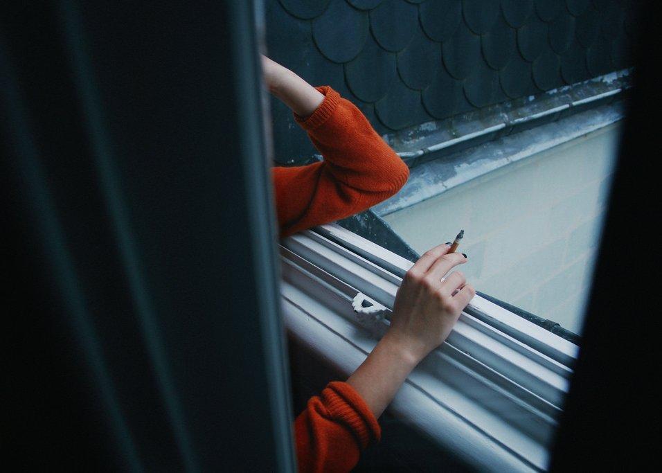 girl, cigarette, and window image