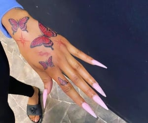butterfly, nails, and tattoo image