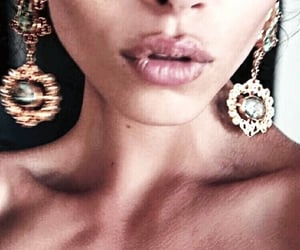 beauty, earrings, and lips image