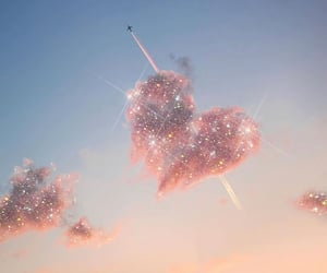 sky, clouds, and heart image