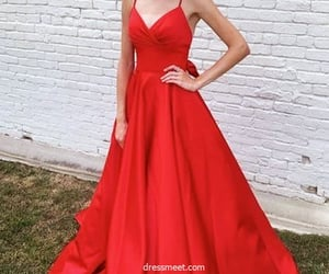 evening dress, prom dress, and red prom dress image