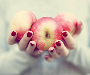 apple, red, and hands image