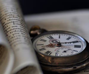 clock, book, and old image