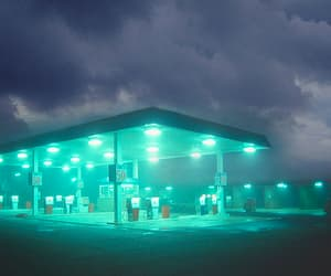 gas station, glow, and green image