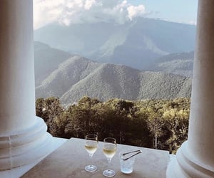 mountains, travel, and drink image