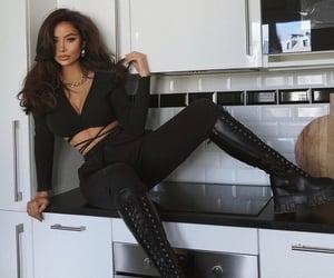 black, haïr, and clothes image