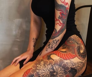 black, dragon tattoo, and red image