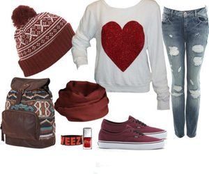 jeans, red, and outfit image