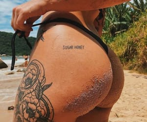 tattoo, beach, and bikini image