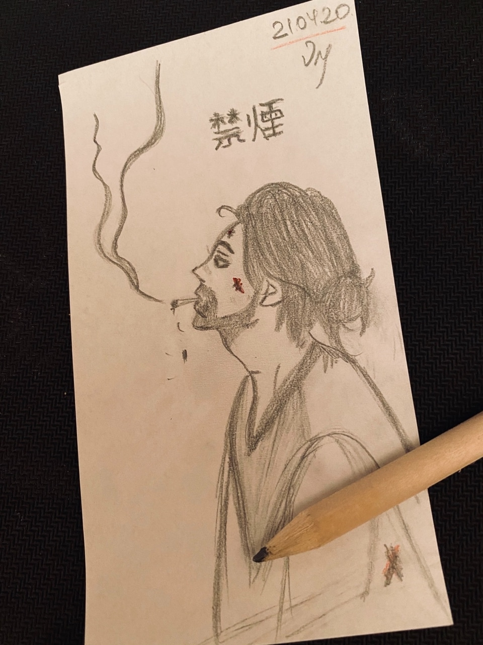 beard, cigarette, and drawing image