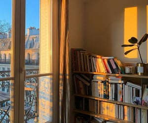 books, room, and Sunny image
