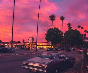 pink, car, and sky image