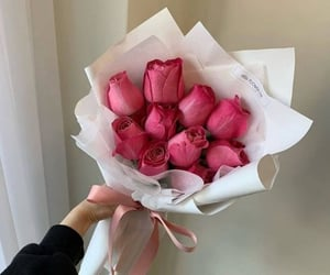 bouquets, pink ribbon, and pink roses image