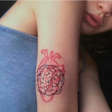 brain, tattoo inspiration, and heart image