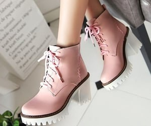 boots, high heel, and pink image