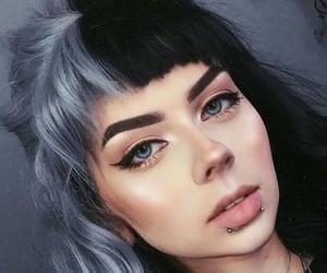 blue, split hair, and black image