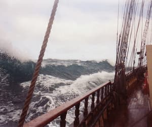 ship, ocean, and waves image