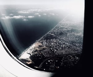 airplane, city, and landscape image