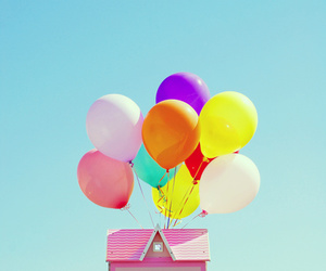 balloons, colorful, and house image