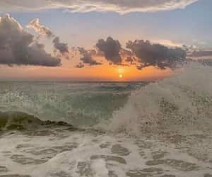 ocean, sunset, and beach image