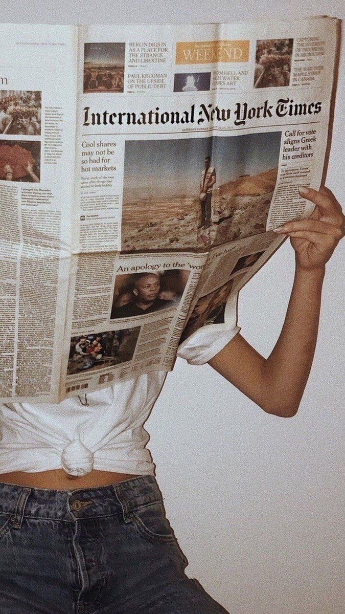 newspaper, girl, and vintage image