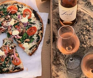 beach, pizza, and weheartit image