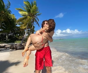 beach, couple, and ansel elgort image