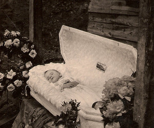 baby, flowers, and coffin image