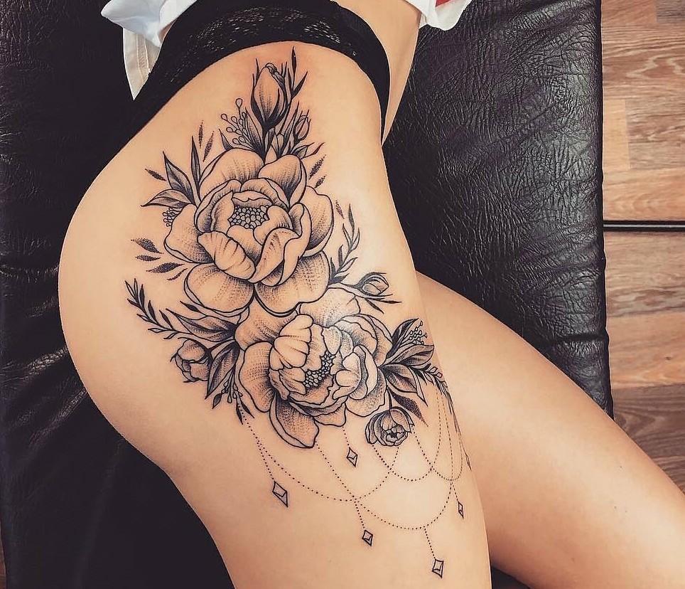 flower tattoo, tattoo, and girl tattoo image