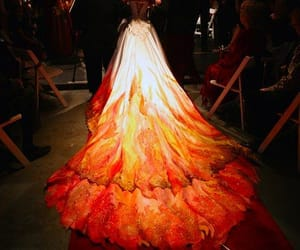 dress, gown, and girl on fire image