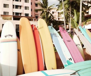 aesthetic, palm trees, and surfing image