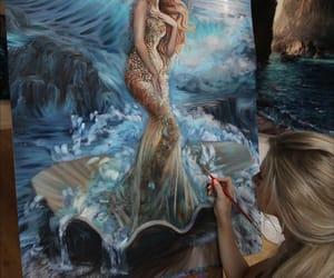 art, mermaid, and painting image