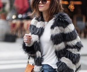 fashion, faux fur, and jeans image