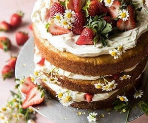 strawberry, cake, and desserts image