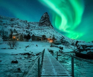 aurora, cold, and mountains image