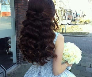 curly hair, flowers, and girlfriend image