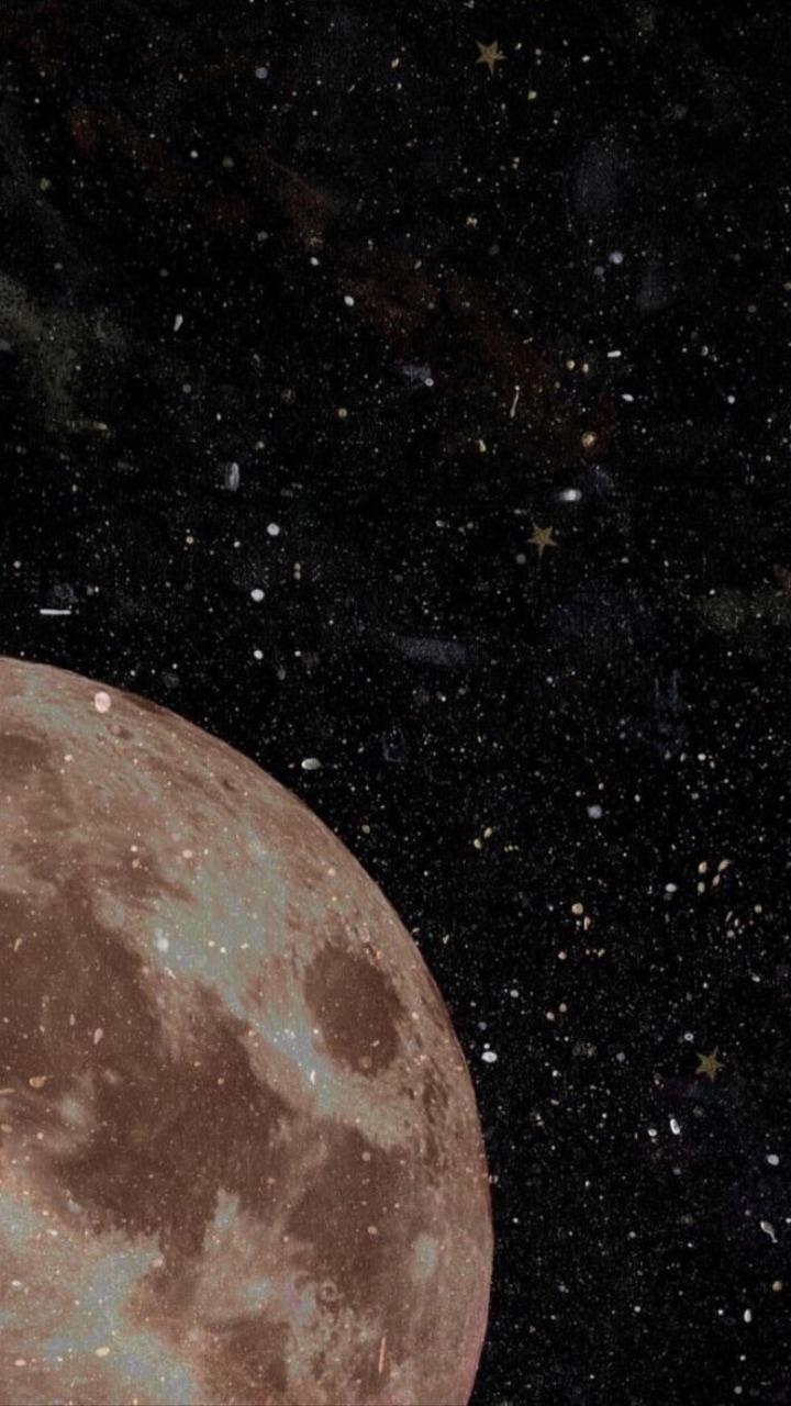 wallpaper, moon, and stars image