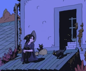 witch, cat, and art image