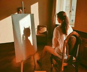 girl, art, and shadow image