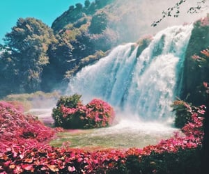 nature, waterfall, and flowers image