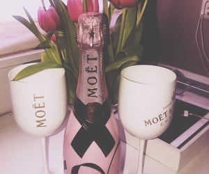 champagne, tulips, and pink image