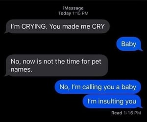 baby, pet names, and i am crying image