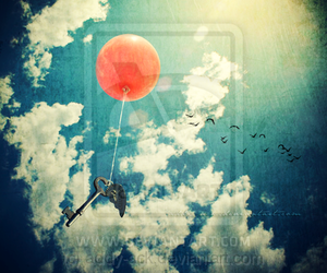 sky, balloons, and cloud image