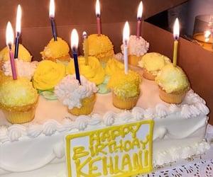birthday, yellow, and cake image