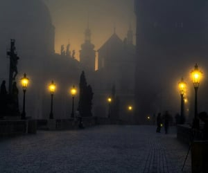 prague, light, and night image